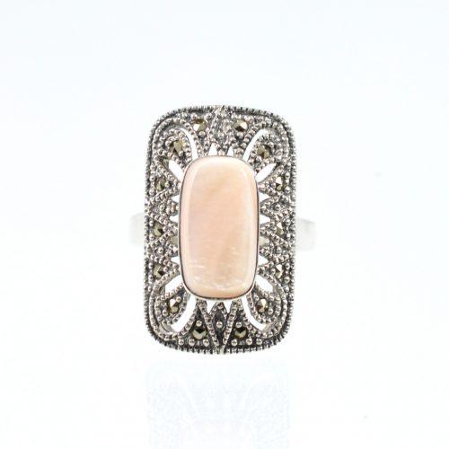 Διαχρονικό οξειδωμένο δαχτυλίδι με καρφωμένους μαρκασίτες και φίλντισι πέτρα