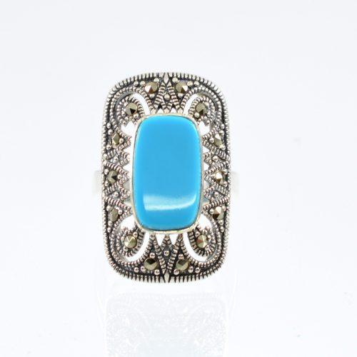Διαχρονικό οξειδωμένο δαχτυλίδι με καρφωμένους μαρκασίτες και με τιρκουάζ πέτρα