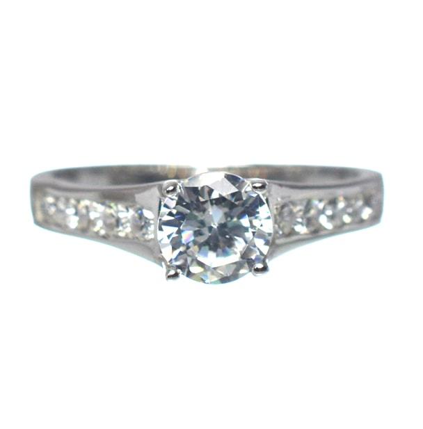Ασημένιο 925 μονόπετρο ζιργκόν δαχτυλίδι - Silver Family 96f065a24df