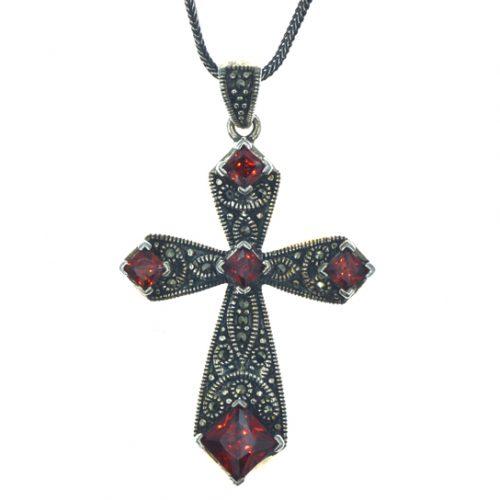 Ασημένιος 925 σταυρός μαρκασίτη και γρανάδες