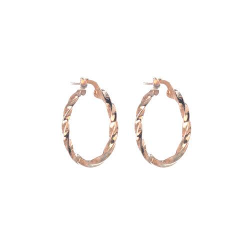 Ασημένιοι 925 στριφογυριστοί κρίκοι σε ροζ χρυσό