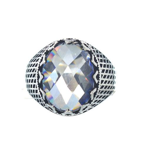 Ασημένιο 925 ανδρικό δαχτυλίδι με λευκό ζιργκόν