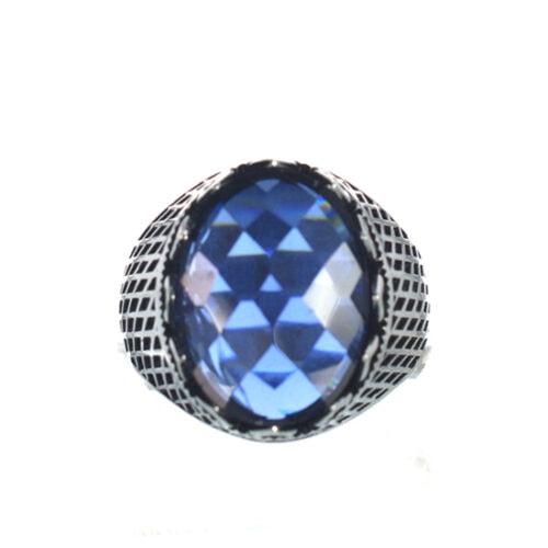 Ασημένιο 925 ανδρικό δαχτυλίδι με μπλε ζιργκόν