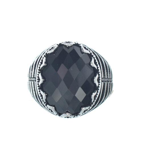 Ασημένιο 925 ανδρικό δαχτυλίδι με μαύρο ζιργκόν