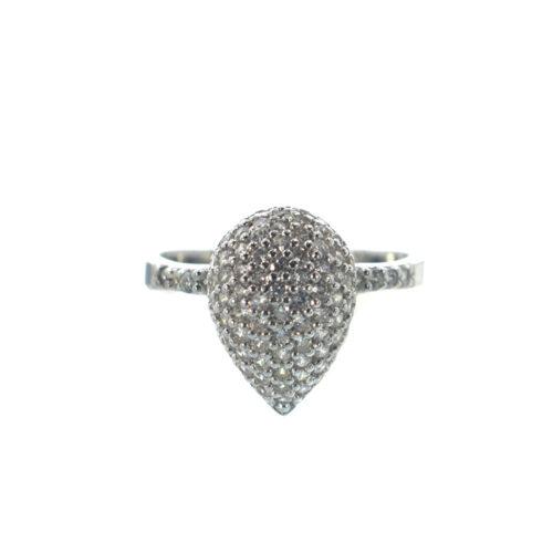 Ασημένιο 925 δαχτυλίδι με λευκό ζιργκόν