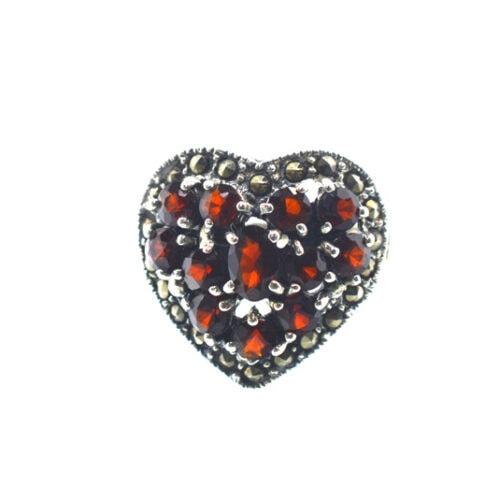 Δαχτυλίδι σε σχήμα καρδιάς με γρανάδα και μαρκασίτη