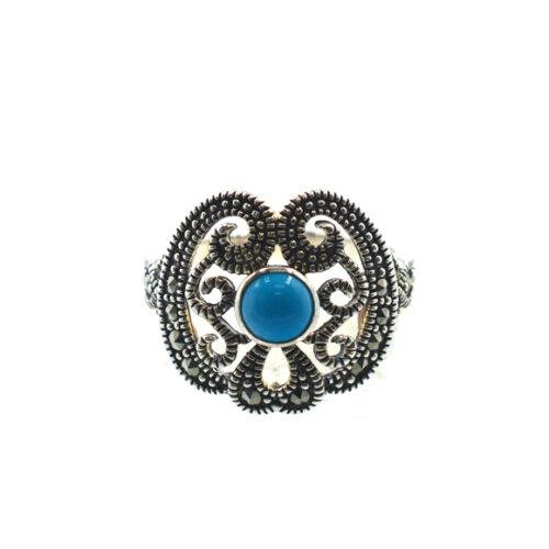 Δαχτυλίδι με καρφωμένες πέτρες τιρκουάζ και μαρκασίτη της καλύτερης ποιότητας