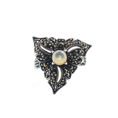 Ασημένιο 925 δαχτυλίδι με φίλντισι και μαρκασίτη