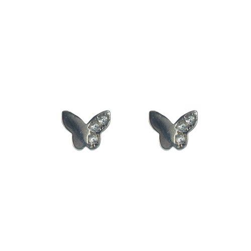 Ασημένια 925 καρφωτά σκουλαρίκια πεταλούδες με ζιργκόν