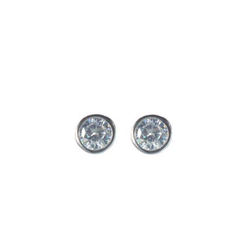 Ασημένια 925 καρφωτά σκουλαρίκια με λευκό ζιργκόν