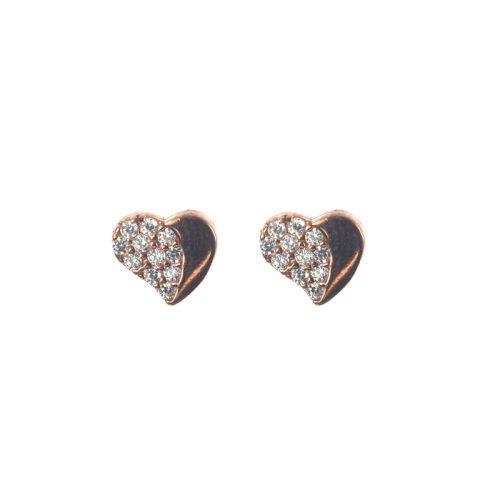 Ασημένια 925 καρφωτά σκουλαρίκια καρδιές με ζιργκόν