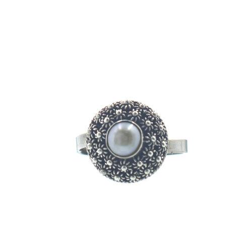 Ασημένιο 925 χειροποίητο δαχτυλίδι με μαργαριτάρι