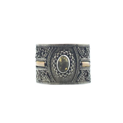Ασημένιο 925 χειροποίητο δαχτυλίδι με σιτρίν