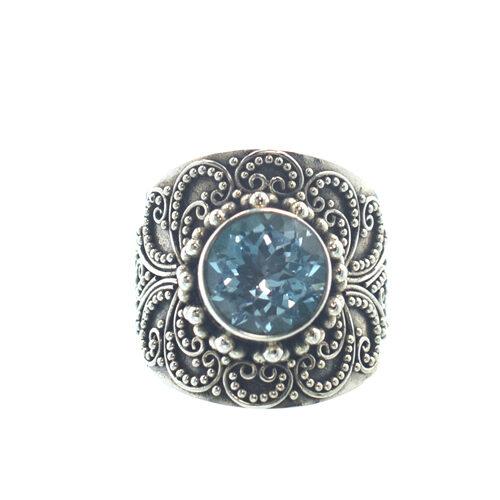 Ασημένιο 925 χειροποίητο δαχτυλίδι με ακουμαρίνα