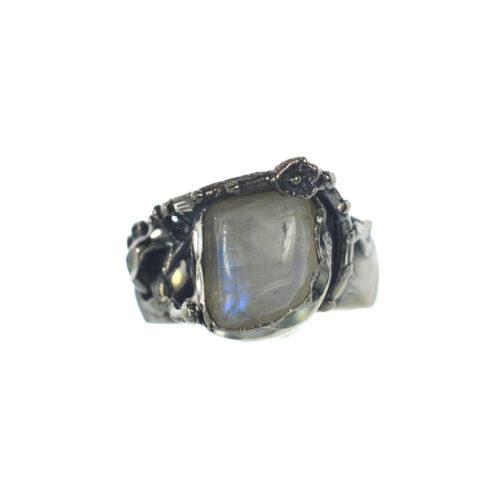 Ασημένιο 925 χειροποίητο δαχτυλίδι με φεγγαρόπετρα
