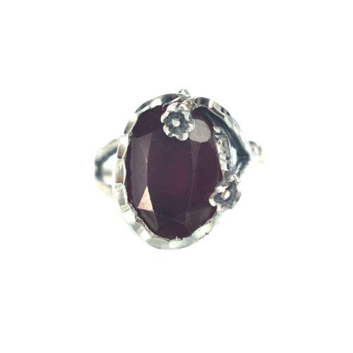 Ασημένιο 925 χειροποίητο δαχτυλίδι με γρανάδα