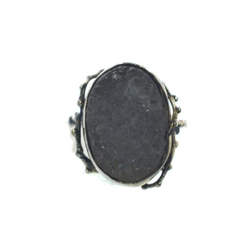 Ασημένιο 925 χειροποίητο δαχτυλίδι με ακατέργαστη φεγγαρόπετρα