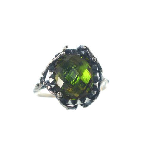 Ασημένιο 925 δαχτυλίδι με συνθετική τουρμαλίνη