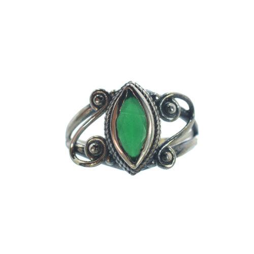 Ασημένιο 925 δαχτυλίδι με πράσινο ζιργκόν