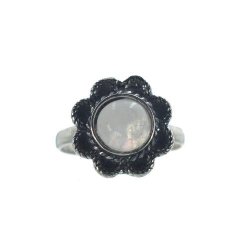 Ασημένιο 925 δαχτυλίδι λουλούδι με φεγγαρόπετρα
