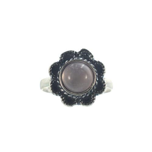 Ασημένιο 925 δαχτυλίδι λουλούδι με ροζ χαλαζία