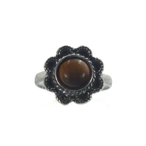 Ασημένιο 925 δαχτυλίδι λουλούδι με μάτι τίγρης
