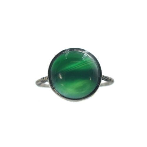 Ασημένιο 925 δαχτυλίδι με πράσινο αχάτη