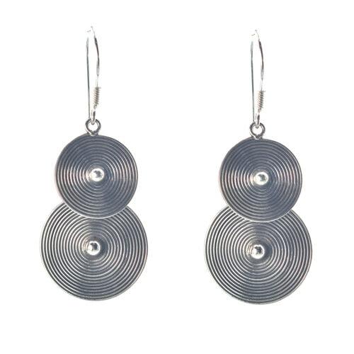 Ασημένια 925 κρεμαστά σκουλαρίκια κύκλοι